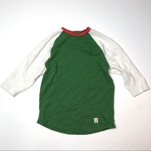 Topo designs baseball 3/4 sleeve green and white